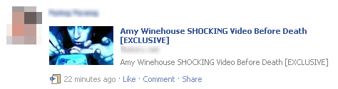 Facebook Scam - Amy Winehouse