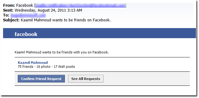 Facebook Friend Request - Phising Email