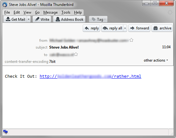 Steve Job - Spam Email - Malware