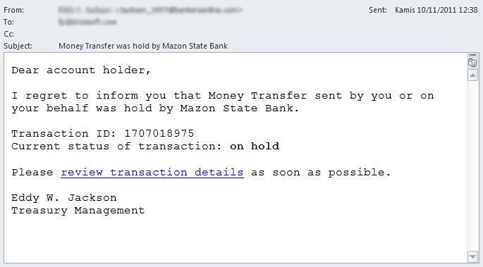 Trojan Spy - Scam Email #1