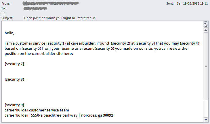 Zbot spam