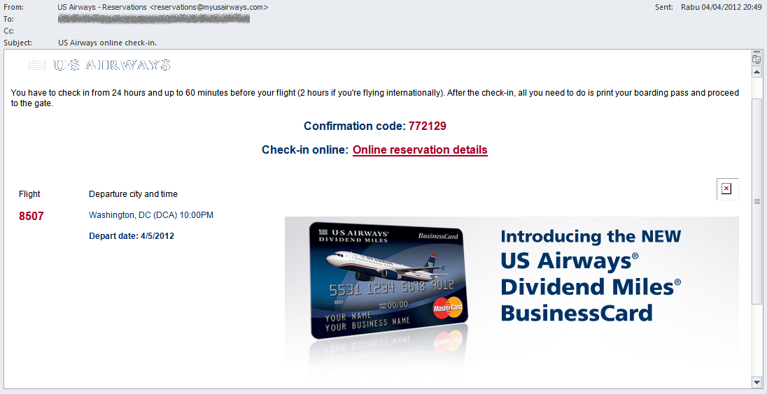 US Airways Spam Email