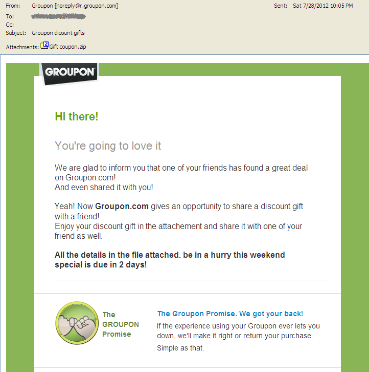 Groupon discount gifts spam