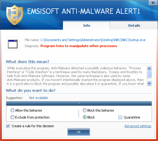 Emsisoft Anti-Malware detecting the new ZeroAccess variant used for the attack