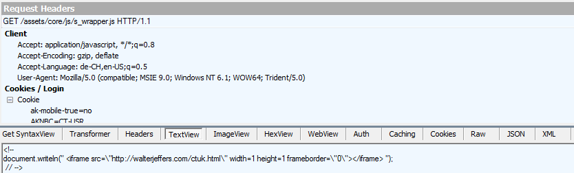 Malicious iframe inserted into one of the site's JavaScript files