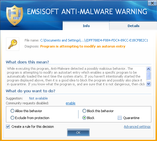 Emsisoft Anti-Malware behavior blocker alerting about suspicious behavior of CryptoLocker