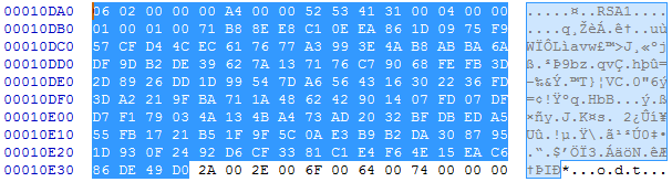 Public key used by the malware for communication with its command and control server