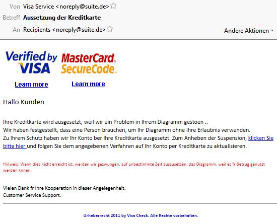 Visa Mastercard Phishing