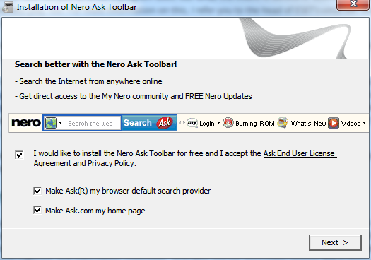 nero ask toolbar