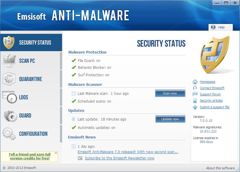 Emsisoft Anti-Malware الفيروسات 2016 securitystatus.png