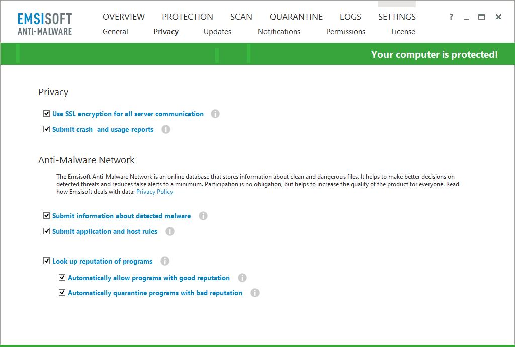 Emsisoft Anti-Malware - Privacy Settings