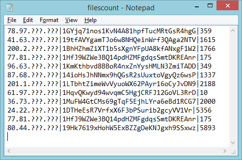 Some example entries from the public log kept by the malware's C2 server, containing the victim's IP, their Bitcoin address and the number of files that were encrypted.