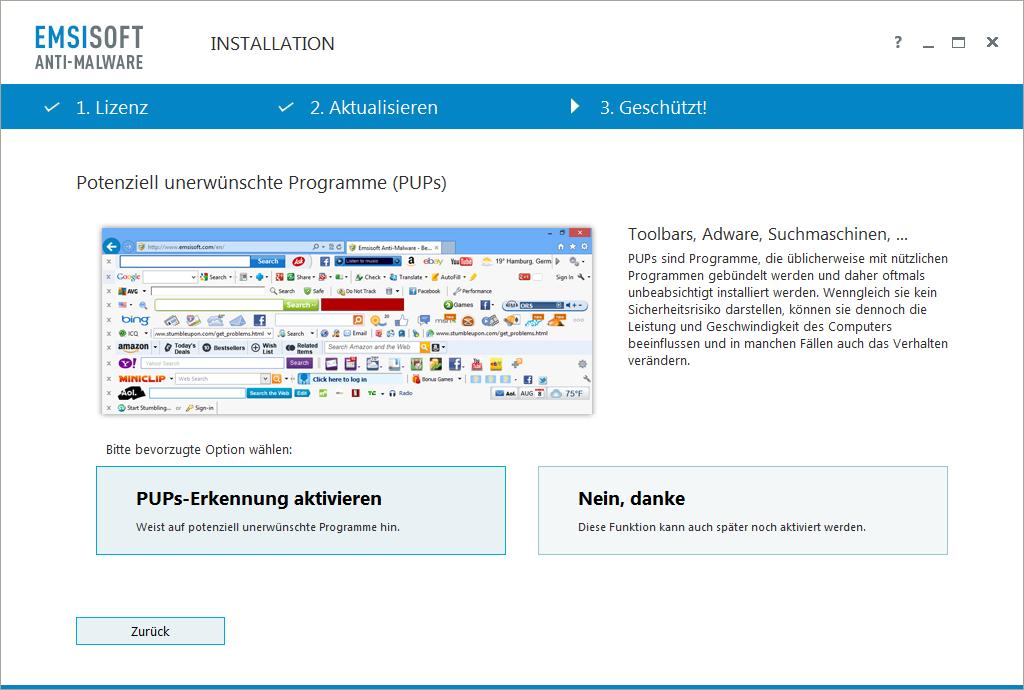 Emsisoft Anti-Malware - Potenziell unerwünschte Programme (PUPs)