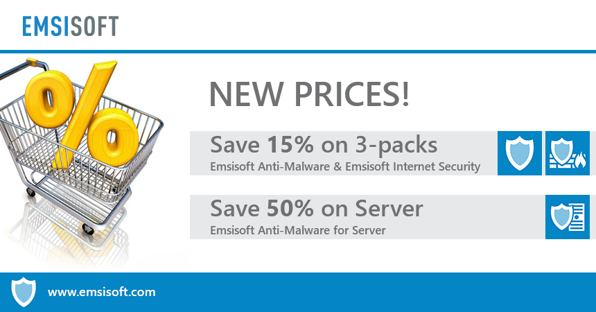 New prices: Save 15% on 3-packs and 50% on Server licenses