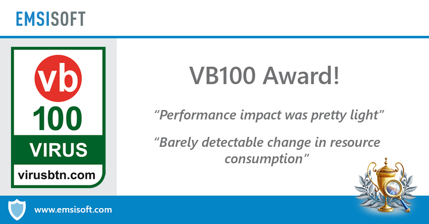 VB100 Award: 100% detection and one of the lowest RAM increases reported