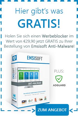Holen Sie sich einen Werbeblocker im Wert von €29,90 jetzt GRATIS zu Ihrer Bestellung von Emsisoft Anti-Malware!