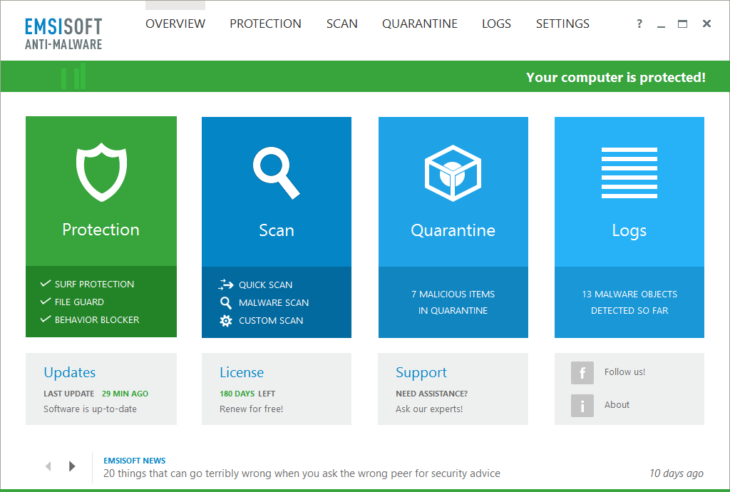 Emsisoft Anti-Malware 11 - Protection Overview