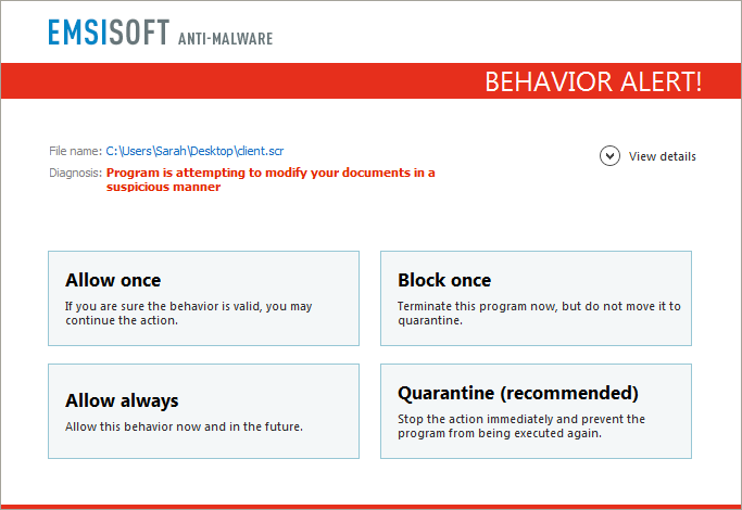 Users of Emsisoft Anti-Malware and Emsisoft Internet Security are protected from Ransom32 and other ransomware families by the behavior blocker