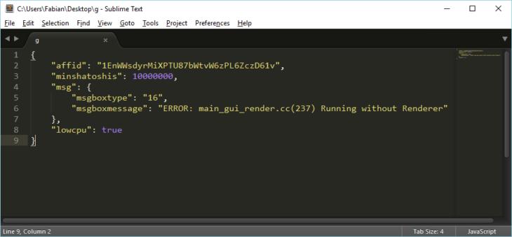 """Le fichier """"g"""" contient la configuration du logiciel malveillant au format JSON"""