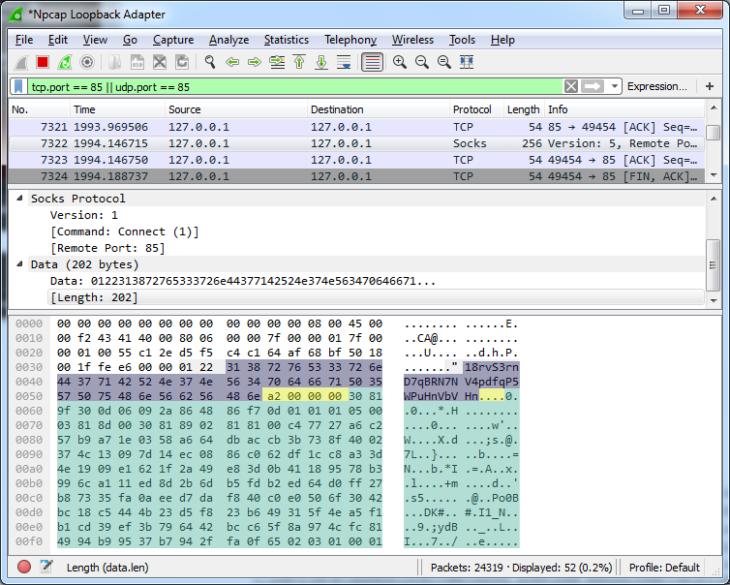Une partie de l'échange de protocole personnalisé entre Ransom32 et son serveur de commande et de contrôle pour échanger l'adresse Bitcoin (en violet) et la clé publique (longueur jaune, clé verte)
