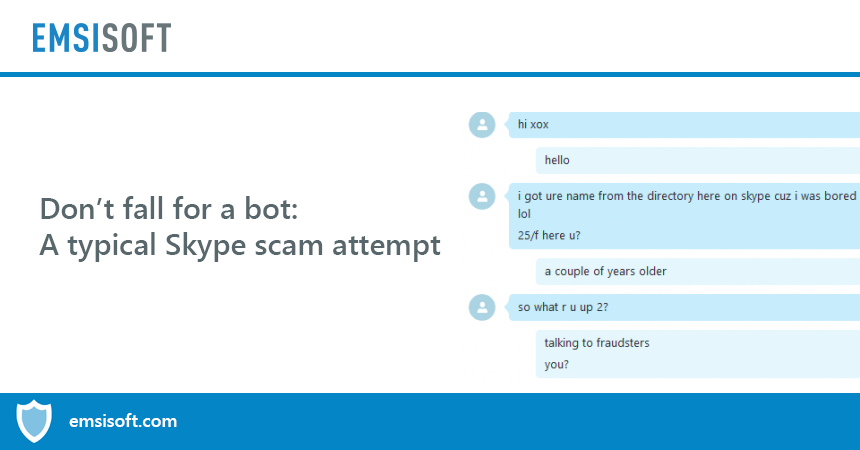 A typical Skype scam attempt by a spam bot