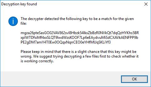 Le message que vous recevez après que le décodeur ait déterminé la bonne clé pour votre système.