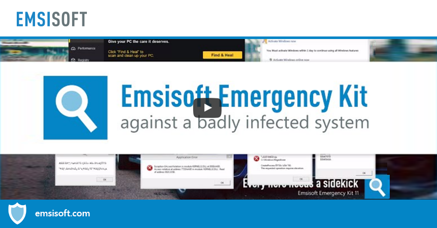 Emsisoft Emergency Kit against a badly infected system