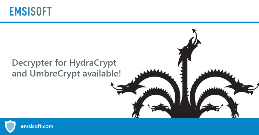 Decrypter for HydraCrypt and UmbreCrypt available