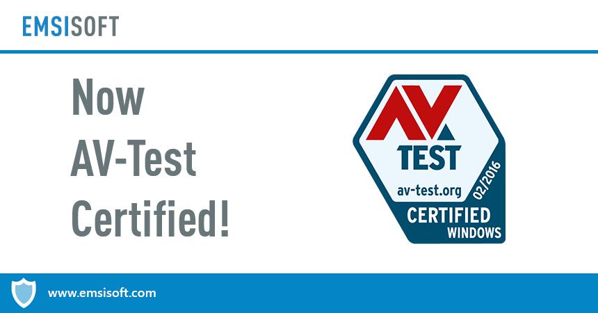 Yet another seal: Emsisoft Anti-Malware now AV-TEST CERTIFIED