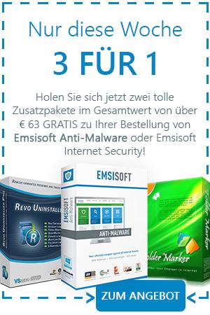 Holen Sie sich jetzt zwei tolle Zusatzpakete im Gesamtwert von über € 63 GRATIS zu Ihrer Bestellung von Emsisoft Anti-Malware oder Emsisoft Internet Security!