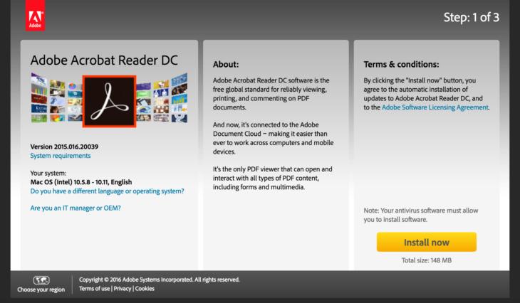 Adobe Acrobat Reader bittet Sie, automatischen Aktualisierungen zuzustimmen.