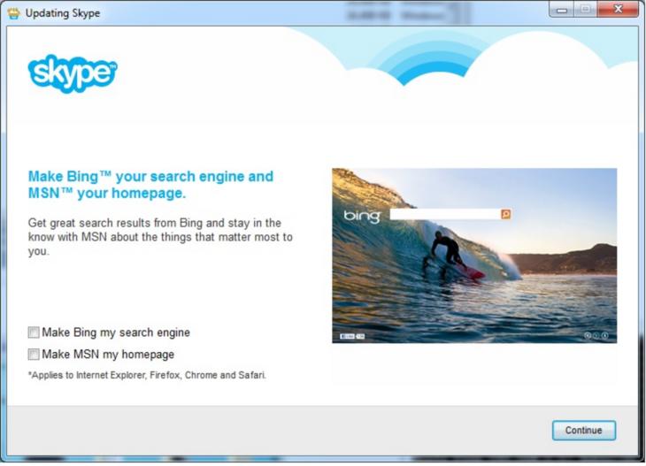 Microsoft Skype bittet Sie, Ihren Browser und Ihre Startseite zu ändern.
