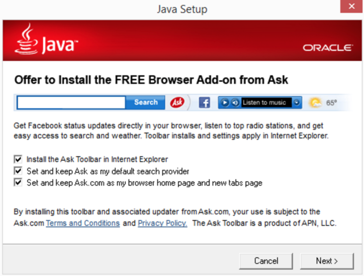 Oracle adds toolbars through the Java installation