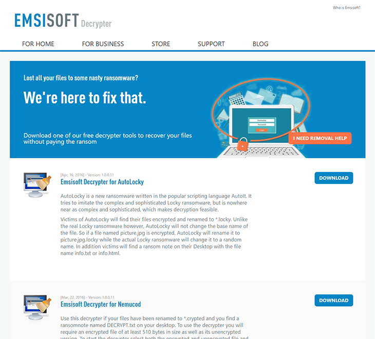 Stay one step ahead of ransomware – Emsisoft's Decrypter page