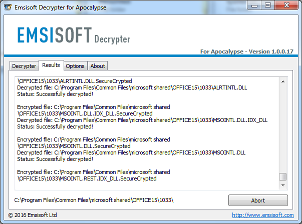 Le déchiffreur d'Apocalypse créé par Emsisoft, en plein fonctionnement