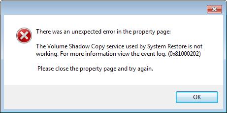 System Restore error message.