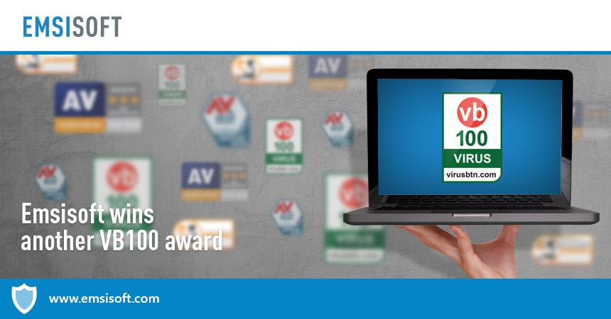 Emsisoft wins another VB100 award