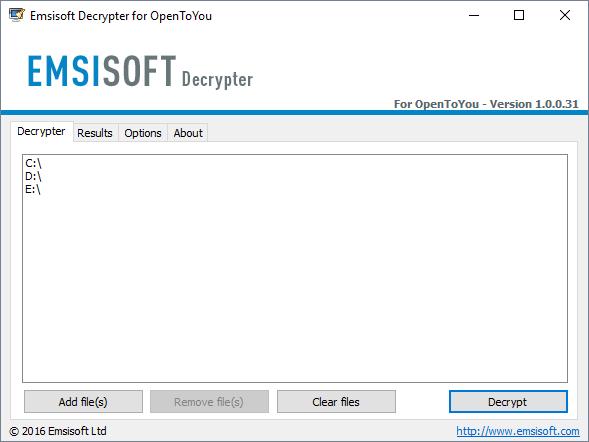 Emsisoft-OpenToYou-Déchiffreur