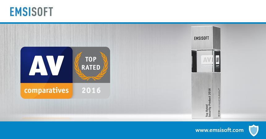 AV-Comparatives назвала Emsisoft Anti-Malware продуктом с наивысшим рейтингом 2016 года