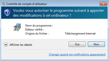 Pop-up de notification UAC