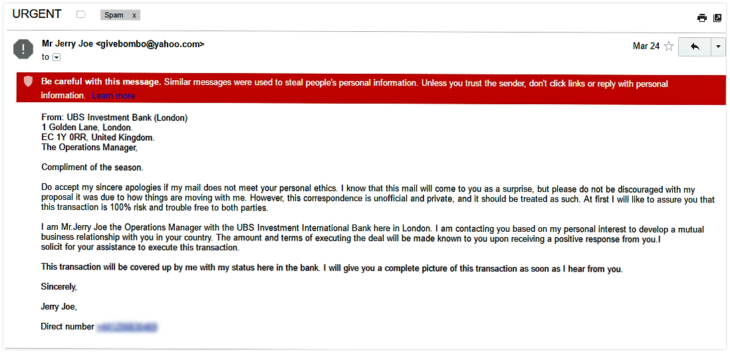 UBS phishing scam email