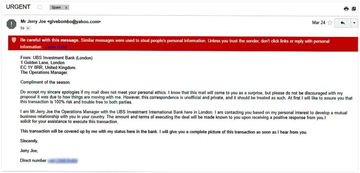 Phishing-E-Mail von UBS
