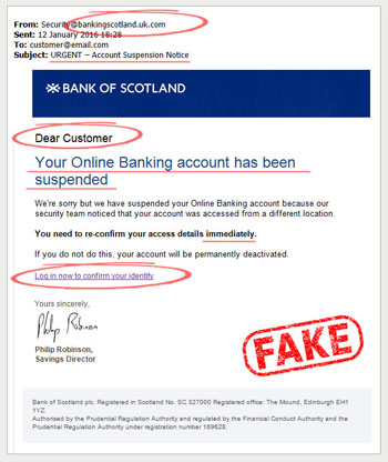 bank of scotland phishing scam