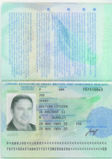 faux passeport de jerry joe