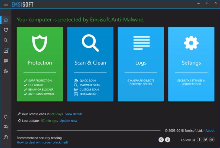 Emsisoft Anti-Malware Dark Mode