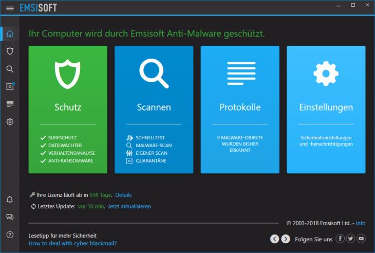 Emsisoft Anti-Malware Dunkelmodus