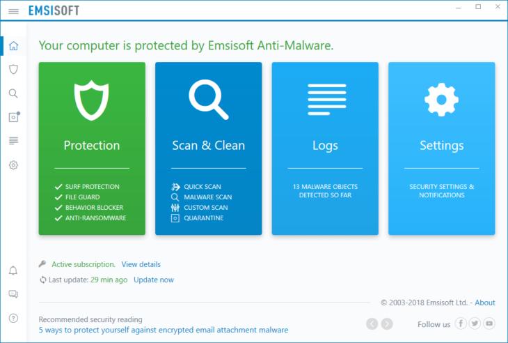 Emsisoft Anti-Malware UI 2018