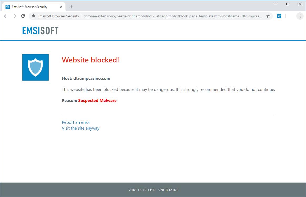Emsisoft Browser Security for Chrome bloqueó un sitio de malware.