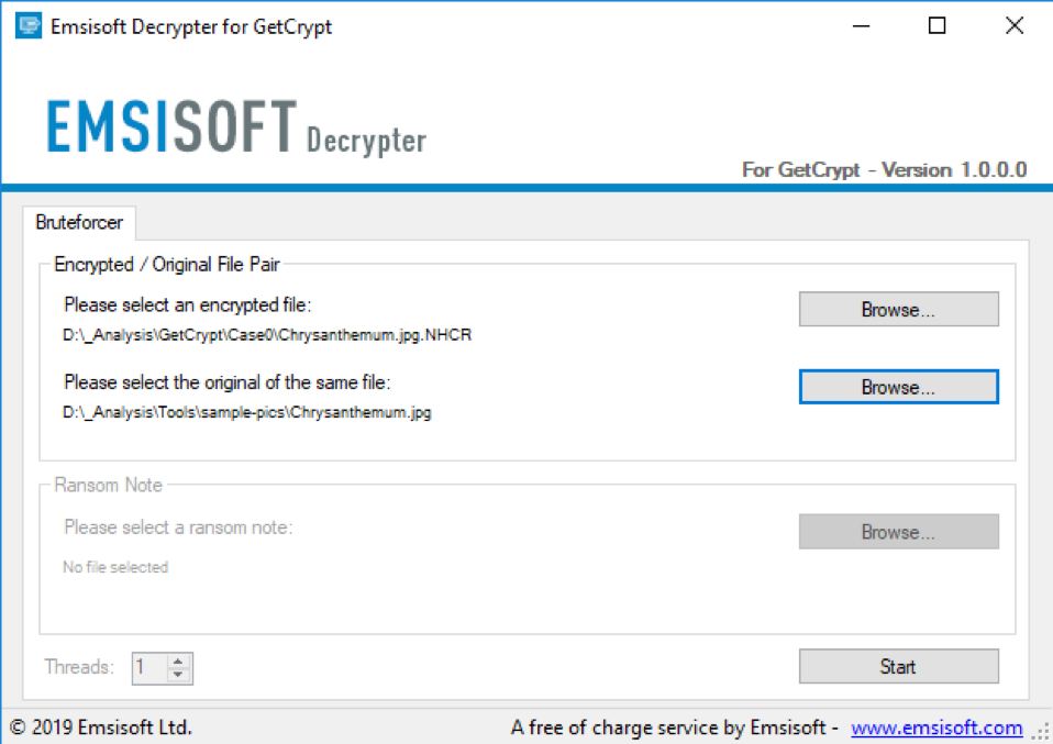 Emsisoft releases a free decrypter for the GetCrypt