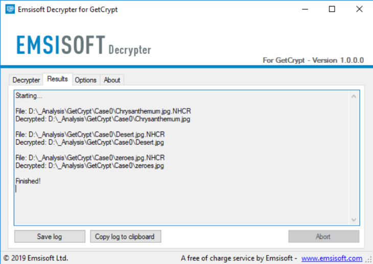 Successful Emsisoft GetCrypt Decryption